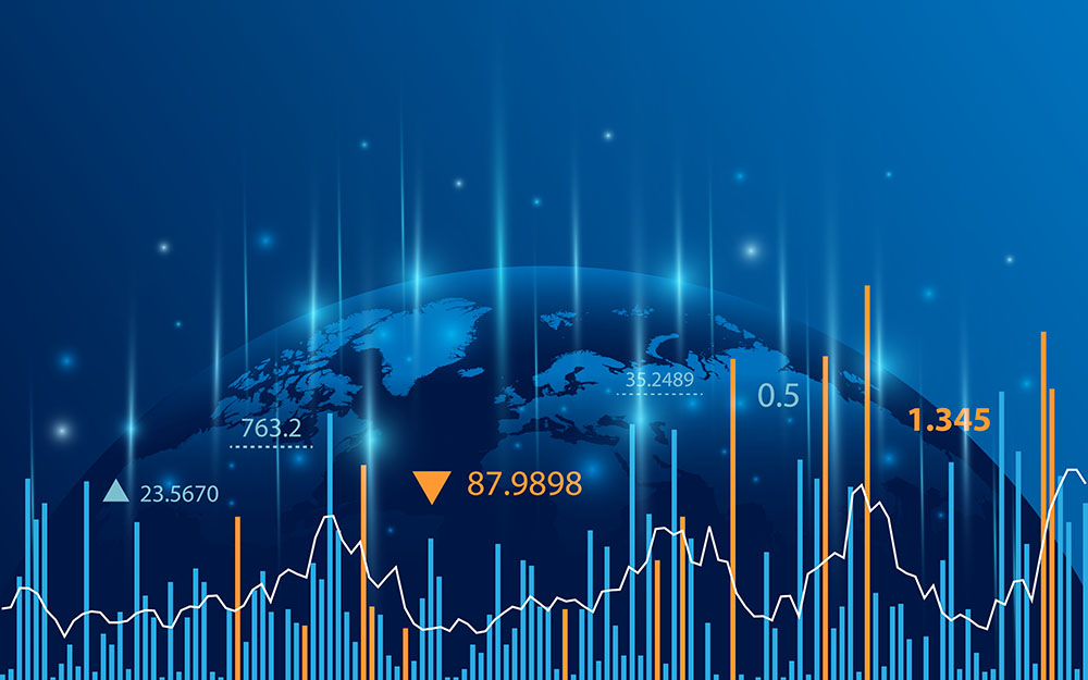 Global financial market image. Half of a globe photo in a dark blue background with financial graphs colored in blue and orange.
