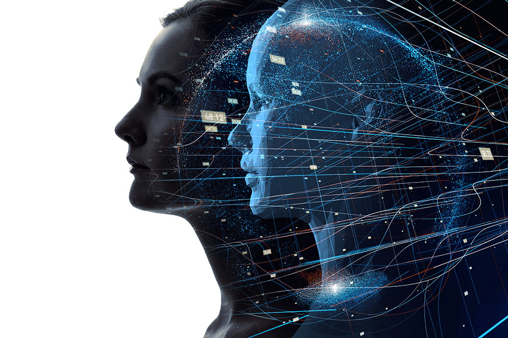 Trading psychology image. Silhouette of a woman behind her is a figure of her brain projected as an AI woman in a white background.
